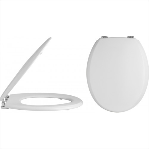 Hudson Reed - Trad Round Wooden Toilet Seat Chrome Hinges