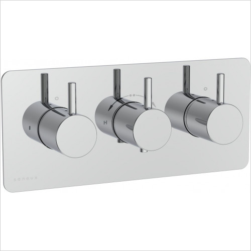 Saneux - Cos 3 Hole/3 Outlets Thermostatic Valve Handle With Plate