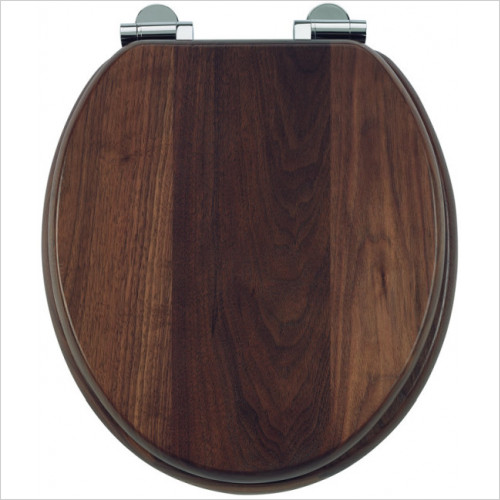 Burlington - Wood Soft Close Toilet Seat With Chrome Finish Hinges