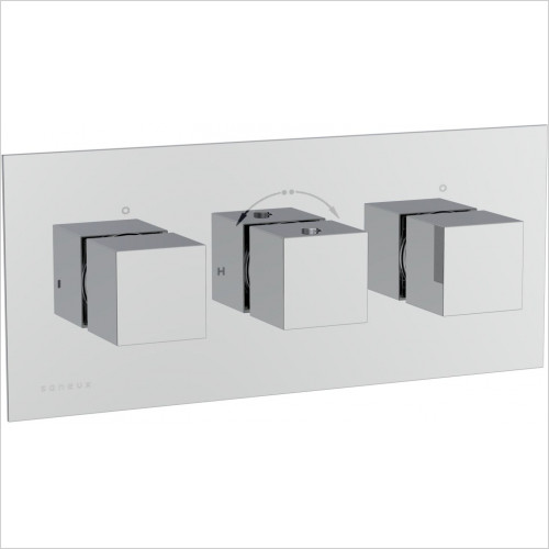 Saneux - Tooga 3 Hole-3 Outlets Thermostatic Valve Handle With Plate