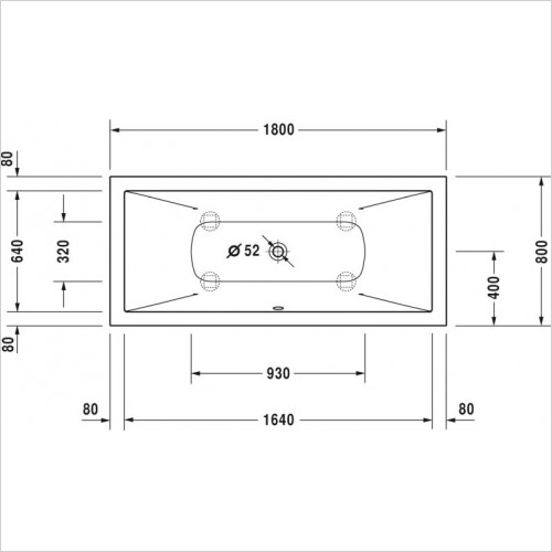 Duravit - Bathtub Durasquare 1800x800mm Built-In