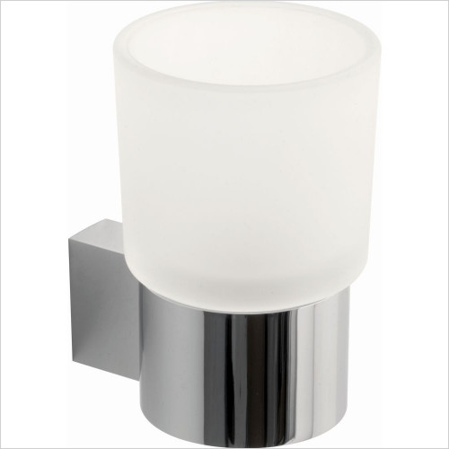 Infinity Frosted Glass Tumbler & Holder Wall Mounted