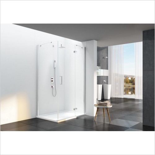 Merlyn - 6 Series Frameless Hinge & Inline (Corner) With Side Panel